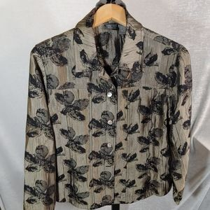 Chico's additions beige &  black blouse top size 2